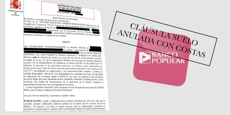 Nueva sentencia favorable con costas de cl usula for Acuerdo clausula suelo banco popular